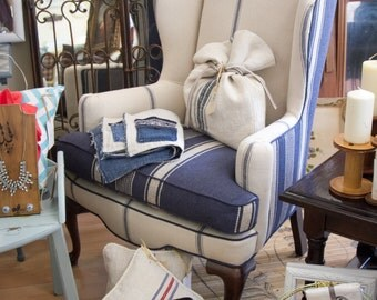 Beautiful Custom Wing back Chair with french grainsack fabric