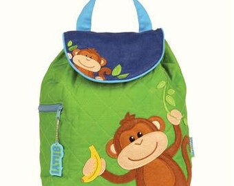SHIPS NEXT DAY--Personalized Monogrammed --New Pattern Stephen Joseph Kid Quilted Boy Monkey  Backpack-Free Monogramming-