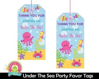 Under The Sea Favor Tags - Under The Sea Gift Tags - Under The Sea Birthday - Under The Sea Party - Nautical Birthday - Girls Under The Sea