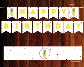 Party like a pineapple, pineapple Party Pack, pineapple banner - digital file, you print