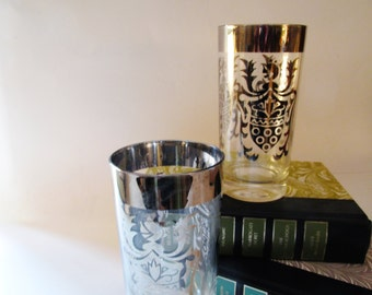 Vintage Silvered Hiball Glasses, Coat of Arms Tumblers, Retro Barware, Hollywood Regency, Preppy Bar