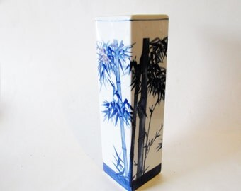 Chinoiserie Blue and White Vase, Bamboo, Palm Beach Decor