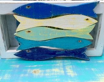 Fish Signs Wall Art School of 5 Beach House Coastal Tropical Decor by CastawaysHall - Ready to Ship