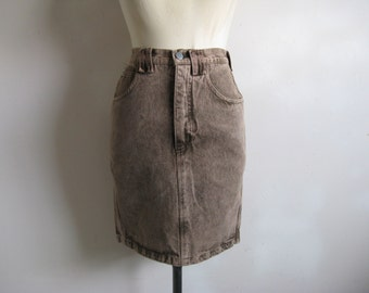 Vintage 1980s Denim Skirt KRIZIA Brown Light Wash Cotton Jean Straight Skirt 27