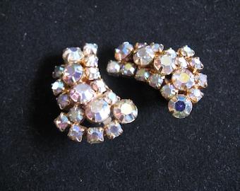 Vintage 60s Clip On Earrings 1960s Gold Tone Rhinestones AB Champagne Earrings