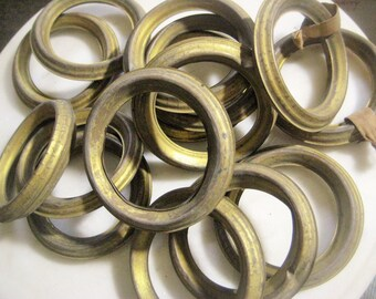 """Antique French Brass Drapery Rings; Hollow Stamped Brass Rings, Simple Design, Jewelry Design, Drapery Replacement Hardware, 3 1/8"""", 15 pcs"""