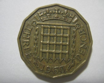 1960 United Kingdom, Three Pence Coin