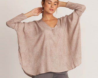 Pink oversize, kimono tunic, one size, loose fit t shirt, v neck t shirt, plus size, yoga top, long sleeves, winter top, sale, casual