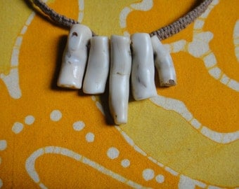 White Coral Bamboo Twig Beaded Hemp Necklace Graduated Stone Collar Tribal Jewelry Gift for Him or Her