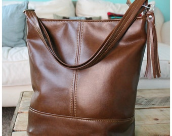 Bonnie bag - Leather bucket bag - Brown leather bag - brown recycled leather - recycled leather