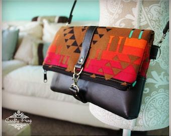Fold Over Clutch Bag  - Navajo foldover Clutch - tribal foldover Clutch - Foldover clutch purse - Bag - Burlap wedding gift