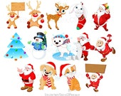 Cute Christmas clipart Kids clipart Christmas clip art Santa clipart Rudolph the Red Nosed Reindeer Holiday clipart Holiday clip art