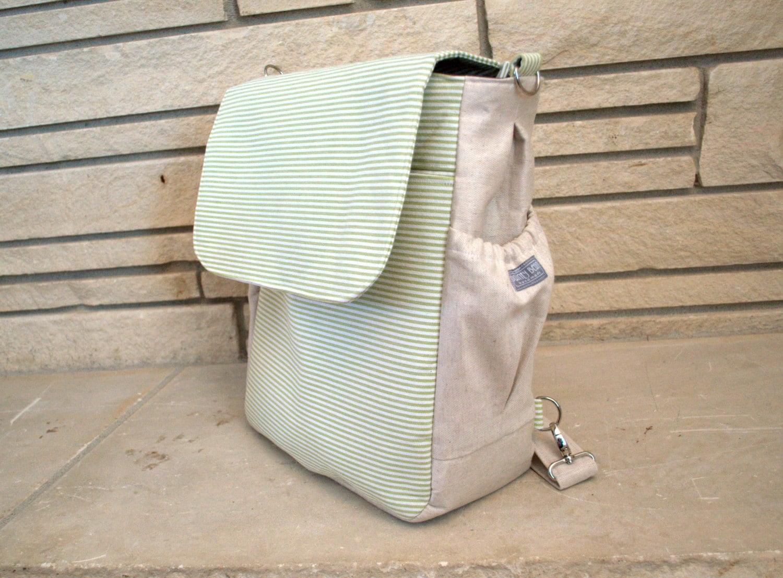 diaper bag backpack ooak thin stripes lots of pockets. Black Bedroom Furniture Sets. Home Design Ideas