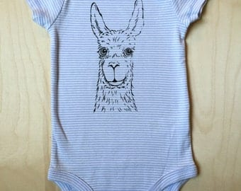 Baby Bodysuit: Llama on periwinkle stripe, 3-6 months
