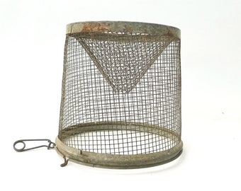 Vintage Wire Minnow Cage ... Vintage Industrial Light, Wire Lampshade, Rustic Americana, Fishing Prop, Minnow Trap, Fish Trap, Rustic Light