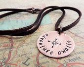 Adventure Awaits Necklace - Stamped Compass Design - Copper Necklace for Travelers - Travel Gift