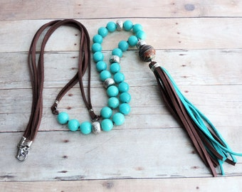 Beaded Boho Tassel Necklace - Turquoise and Brown Leather Tassel - Long Beaded Necklace - Gypsy Necklace - Hippie Jewelry