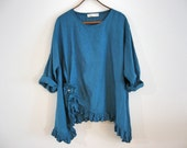 linen top ruched with flower in peacock teal turquoise blue green ready to ship