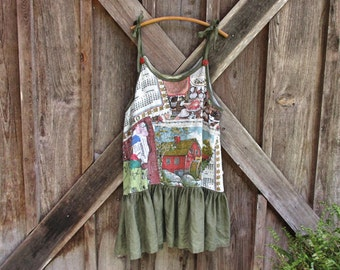 linen jumper pinafore apron dress tunic in moss olive green with vintage linen bodice ready to ship