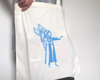 Angel hand screen printed cotton tote bag