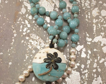 Off White Turquoise Statement Necklace Pearl Lampwork Glass Amazonite Necklace  One of a Kind Bohemian Jewelry Sale Necklace