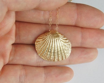 Seashell Necklace, Gold Filled Necklace, Gold Plated Seashell, Nautical Necklace, Bridesmaid Gift, Birthday Gift, Christmas Gift