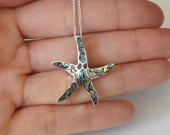 Sterling Silver Starfish Necklace, Mother of Pearl, Large Starfish, 30mm, Nautical Necklace, Seashell Necklace, Birthday Gift, Mother's Gift