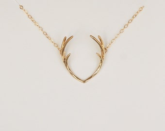 Deer Antlers Necklace, 14K Gold Filled, Dainty Necklace, Kids Jewelry, Kids Necklace,Christmas Gift, Birthday Gift, Children's Gift