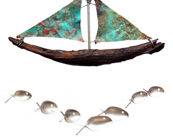 Charming Copper Sailboat Natural Driftwood Nautical Gift Windchime