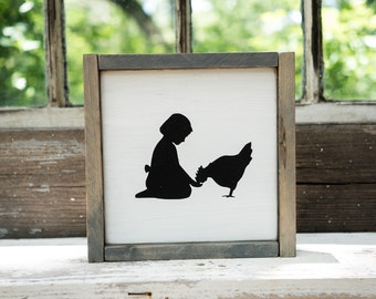 Chicken girl Silhouette Sign Rustic Country Kitchen decor farmhouse decor, cottage decor, kitchen sign, rustic sign, barnwood chicken cutout