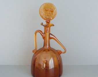 Blenko Glass Amber Lady Decanter 6525
