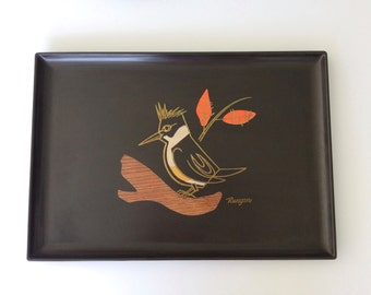 Vintage, Mid-Century Modern Couroc of Monterey Tray with Woodpecker Signed Runyan