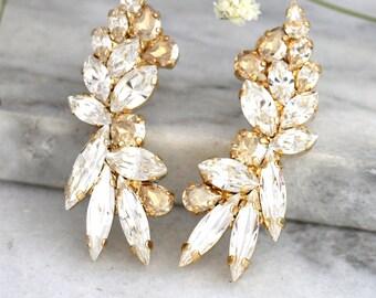 Ear Cuff Earrings,Swarovski Ear Cuff earrings, Bridal Climbing Earrings,Champange Earrings,Ear Crawler Earrings,Ear Cuff, Trending Jewelry