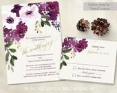 Boho Chic Wedding Invitation Printable Set | Bohemian Wedding RSVP Painted Floral Invitations Plum Purple Wine Gold DIY Digital Template