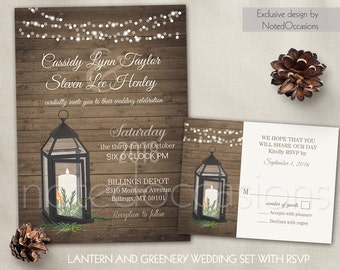 Lantern Wedding Invitation Set Rustic Wedding Country Wedding Greenery Winter Wedding Fall Wedding Wood Custom Digital Printable Template