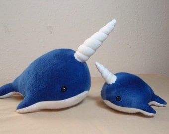 Made to Order Large and Small Narwhal Set Stuffed Plush Ocean Marine Animal