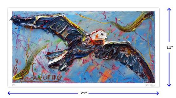 Original signed Print 11 by 21 in. / original print of oil painting landacape bird art animal wildlife signed birds