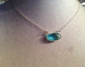 Blue Topaz Necklace - Pendant - December Birthstone - Sterling Silver Jewelry - Gemstone Jewellery - Beaded - Fashion