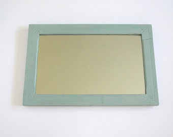 Vintage wall mirror/ cottage chic/ green wood framed mirror