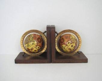Vintage globe bookends/ world globes