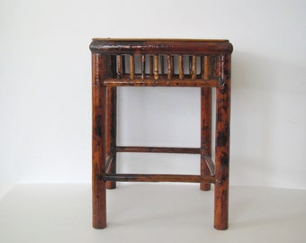 Vintage bamboo table/ bamboo plant stand/stool