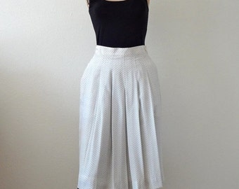 SALE - Silk Pleated Skirt with Chevron Print by Perry Ellis / NOS