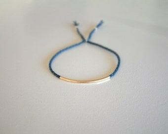GoLD - Flue - Delicate - Thin Woven Surfer Style Cord - String Bracelet / Hand Knotted by fig&fig
