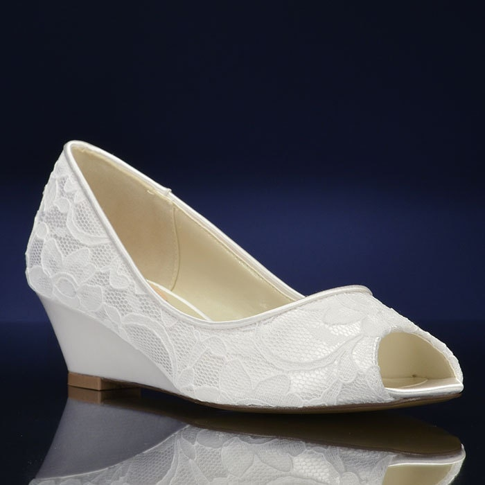 Lace Wedge Wedding Shoes Dyeable Wedding Shoe Lace Wedding
