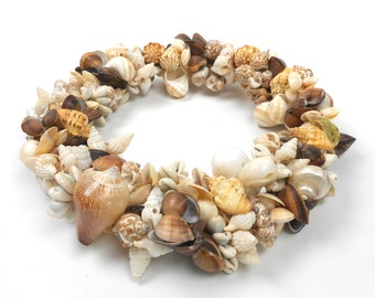 "Vintage Seashell Wreath 12"" Diameter for Door or Table Centerpiece"
