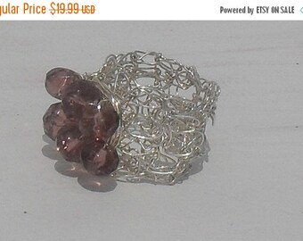 DISCOUNTED Lovely Crocheted STERLING Silver Wire --Faceted -Natural ---Rose QUARTZ--Size 5