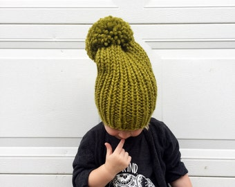 Super Slouchy Pompom Beanie / Chunky Knit Slouchy Hat / Ribbed Toddler Winter Hat / Fall Beanie / Green Slouchy Knit Beanie / Big Pom-pom
