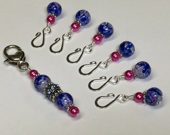 Cobalt Removable Stitch Markers- Open Hook Markers for Knit or Crochet- Stitch Marker Jewelry Gift