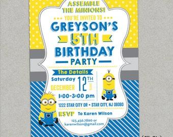 Minion Birthday Party Invitation - Printed or DIY