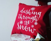 Shabby Chic Dashing Through the Snow, Slipcover, Cushion Cover, Envelope Back, Home Decor, Festive Christmas